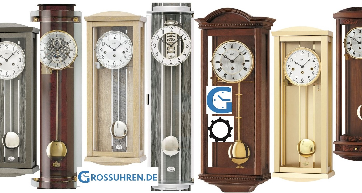 NEW Wall Clock with Pendulum Roman Numerals Chimes Dark Wood Classic EK