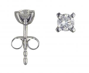 1 Brillant Stud earrings white gold 0,25 Carat