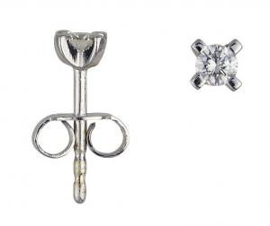 1 Brillant Stud earrings white gold 0,10 Carat