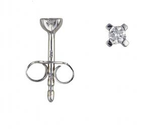 1 Brillant Stud earrings white gold 0,05 Carat