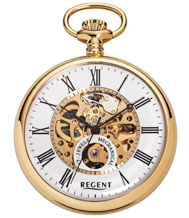 skeleton pocket watch with mechanical clockwork